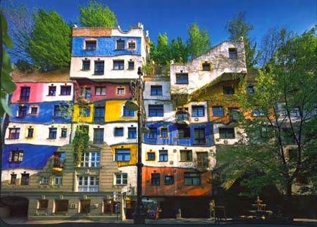 Зелёная кровля. Фриденсрайх Хундертвассер. Friedensreich Hundertwasser. Дом Хундертвассера на Вене