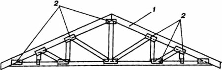 Треугольная хозяйство из соединениями для металлических зубчатых (просечных) пластинах