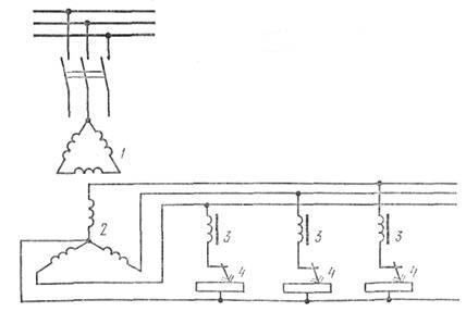 Рис. 2. Схема включения многопостового трехфазного сварочного трансформатора: 1 - первичная обмотка, 2...