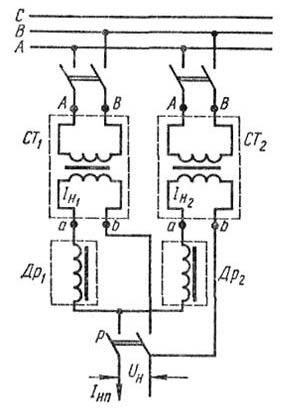 Схема параллельного включения сварочных трансформаторов: А, В, С - фазы сети переменного тока, СТ1, СТ2...