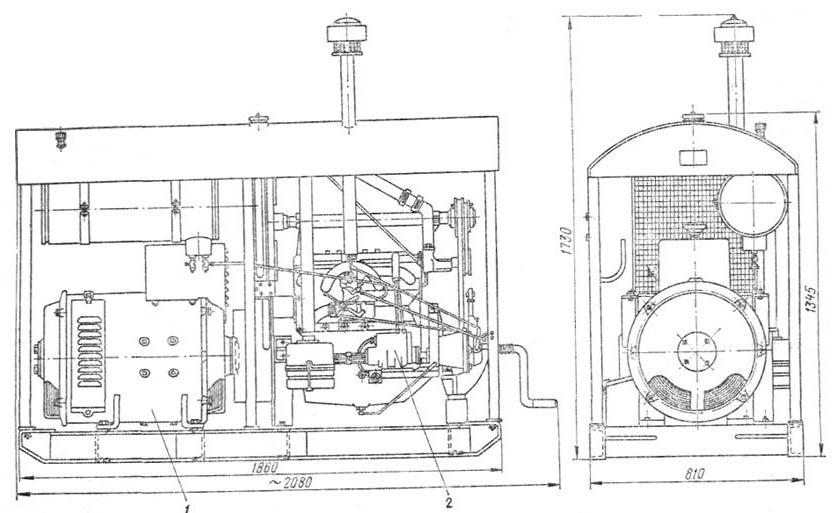 Схема конструктивного исполнения сварочного агрегата АСБ-300: 1 - генератор; 2 - двигатель.